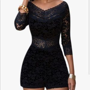 1/2 sleeve lace romper